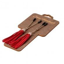 Зажимы-вилки на соски с красными кисточками из замши