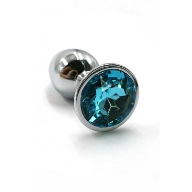 Серебряная анальная пробка с нежно-голубым кристаллом (Small)